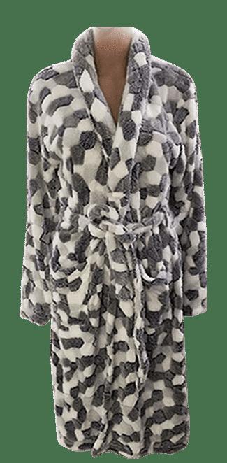 Coral Fleece Robe – Black and White