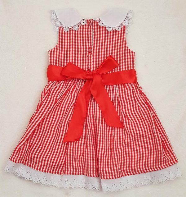 Red Check Sleeveless Smocked Dress Back Side