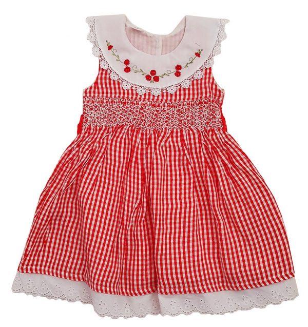Red Check Sleeveless Smocked Dress