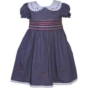 Navy Blue Colour Smocked Dress