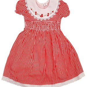 Red check Smocked Dress