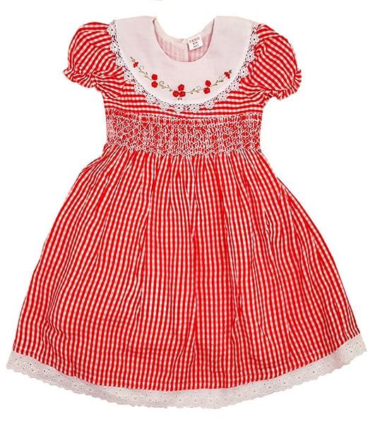 Red check Smocked Dress