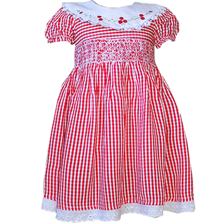 Smocked Dresses of Red and White Checked design