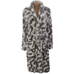 Coral Fleece Robe – Black and White