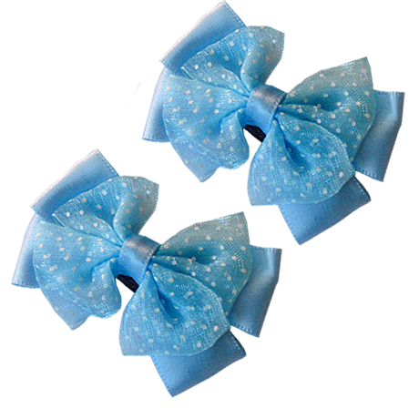 Light Blue Hair Clips with Satin Organza Bow