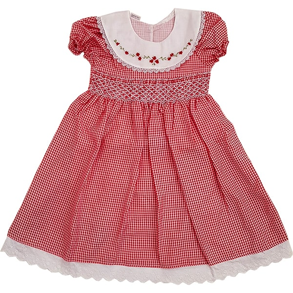 Dark red smocked dress