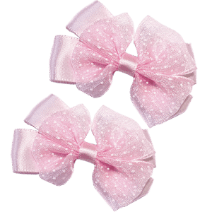 Pink Hair Clips with Satin Organza Bow