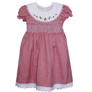 smocked dresses maroon
