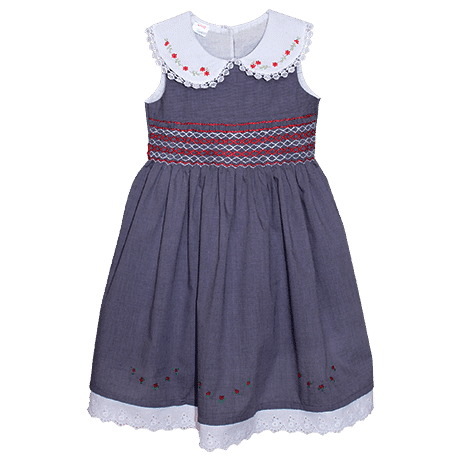 Navy Blue Sleeveless Smocked Dress