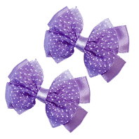 Purple Hair Clips with Satin Organza Bow