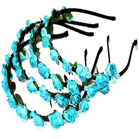 Paper Flower Alice Bands – Light Blue