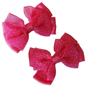 Rose Pink Hair Clips with Satin Organza Bow