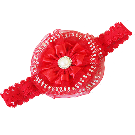 Baby Girls Red Flower Headband