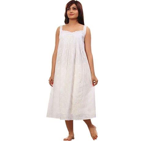 Luxurious Women's Cotton Nightie – White Embroidered