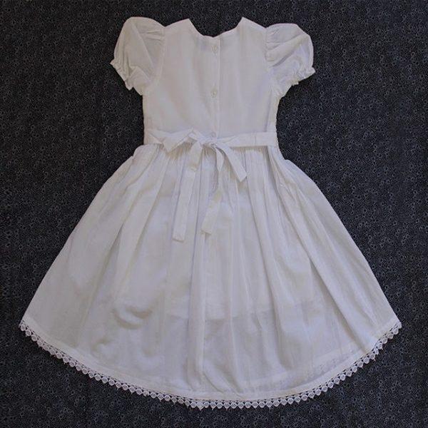 Smocked dress white sleeveless