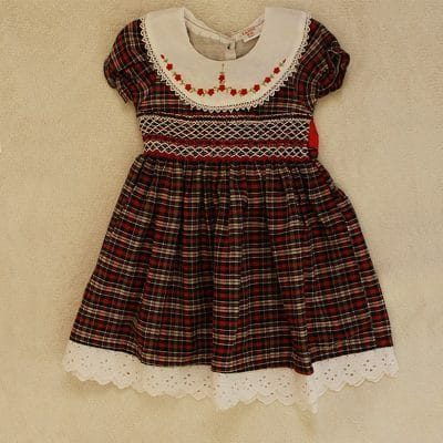 Maroon and White Smock Dress