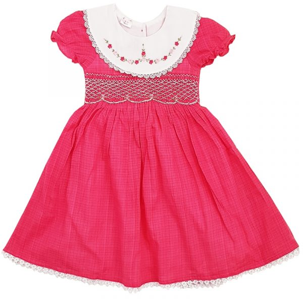 Dark Pink with white smocked