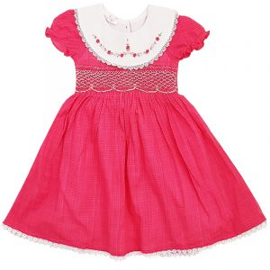 Dark Pink White Smocked body dress