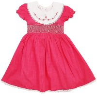 Dark Pink Girls Smocked Dress