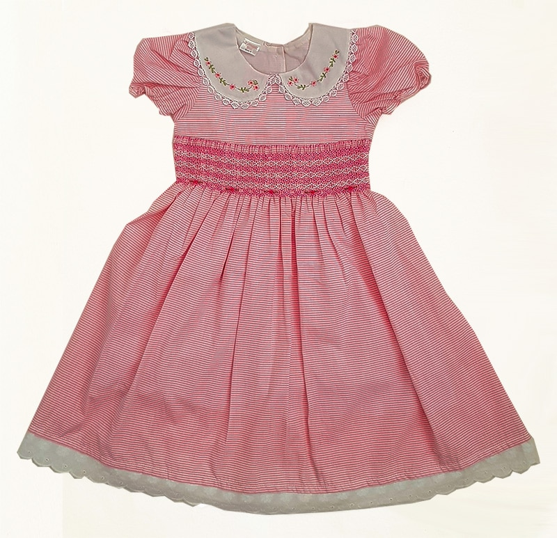 Pink Stripe Smocked Dress with Sleeve