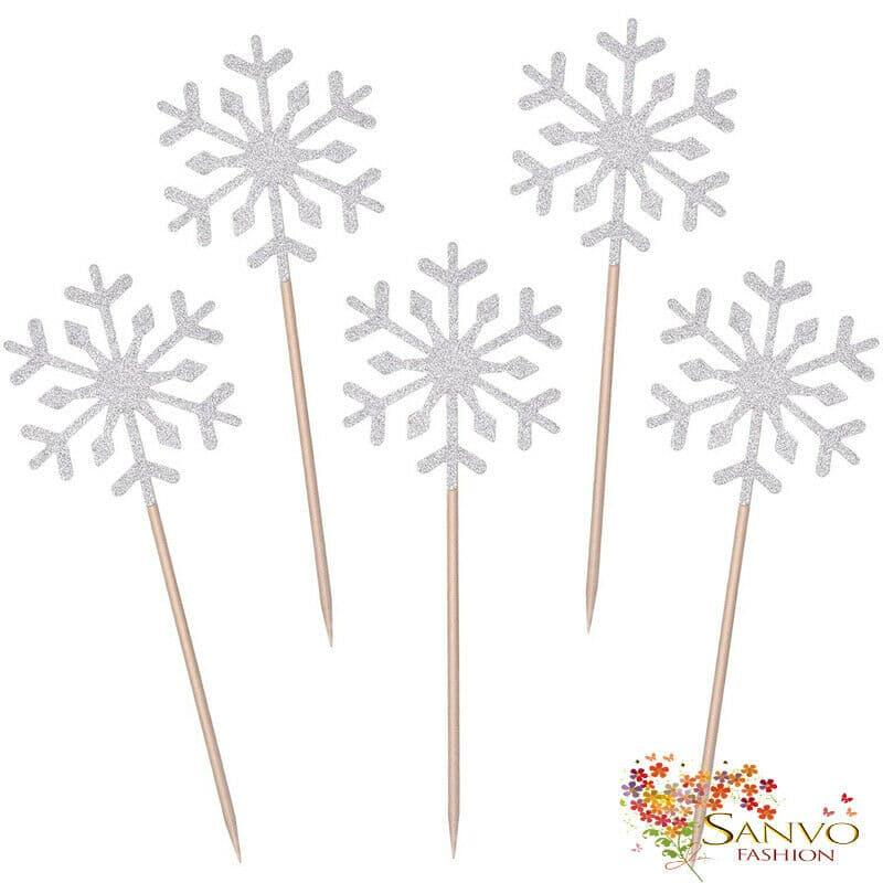 Snowflake Cupcake / Cake Toppers  x 10