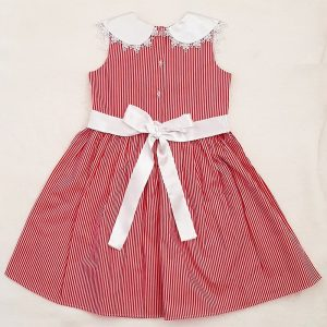 Red Stripe Sleeveless Party Frock