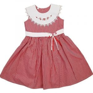Red Stripe Sleeveless Party Frock - Font