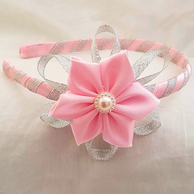 Headband with Pink Satin Flower