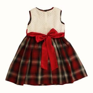 Smocked Dress with Red Flower