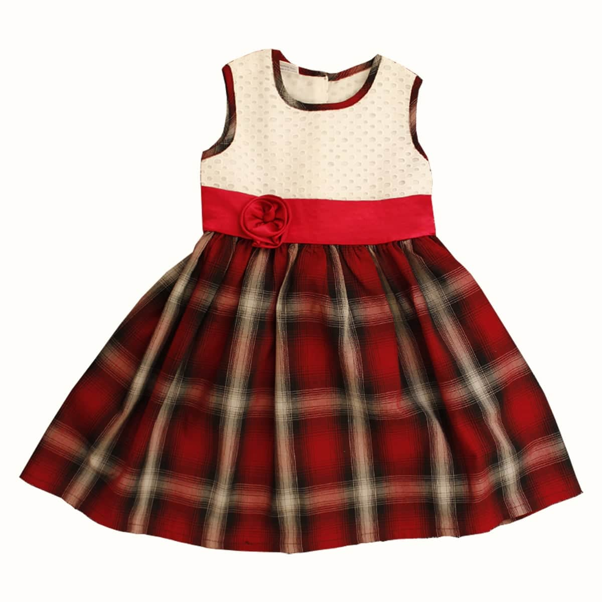 Smocked Dress with Red Satin Flower