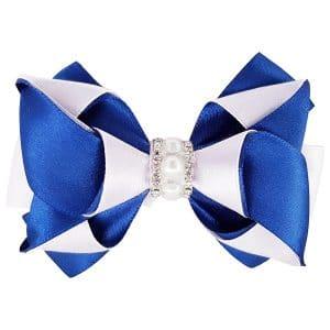 blue and white hair bow clip