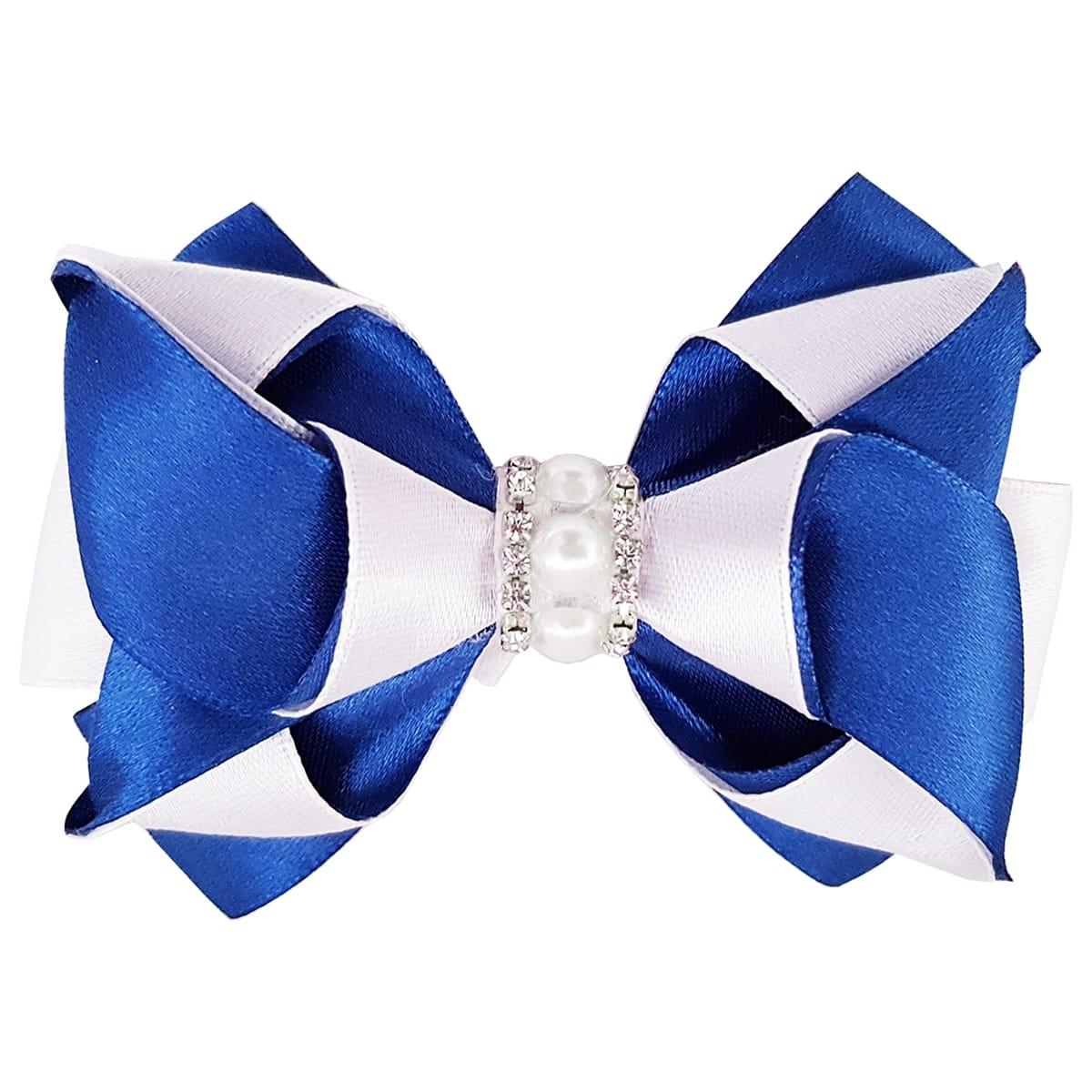 Hair Bow Clip – Blue and White