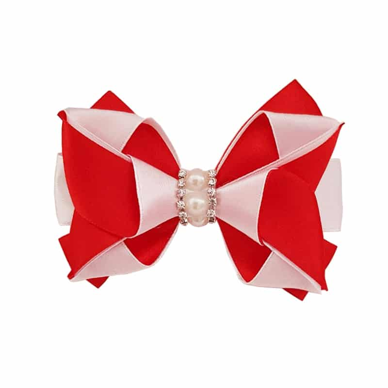 Hair Bow Clip – Red and White
