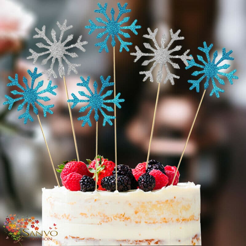 SANVO FASHION | Snow flakes Silver and Blue Cake Toppers