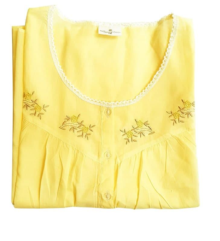 Cotton Nightie & Brunch Coat – Yellow