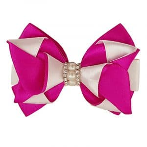 pink and white hair bow clip