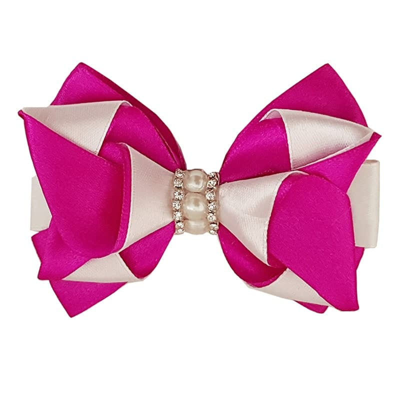 Hair Bow Clip – Pink and White