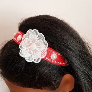 Red Headband with White Flower