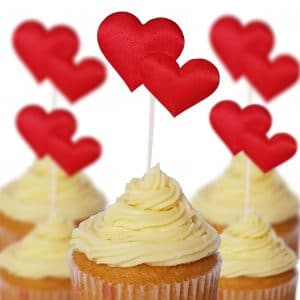 Red Heart Cup Cake Toppers