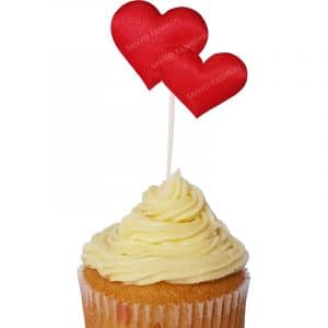 Cup Cake Topper with Red Hearts